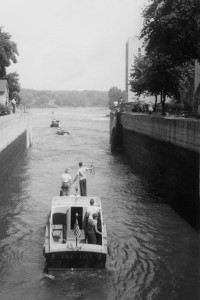 Appleton, Wisconsin, Fox River, the 4th lock at 1050 E. John Street. Circa 1948 to 1952.